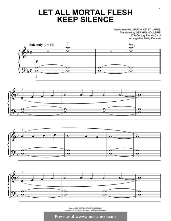 Let All Mortal Flesh Keep Silence: For piano by folklore