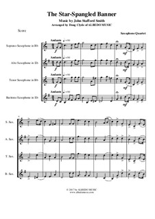The Star Spangled Banner (National Anthem of The United States): For saxophone quartet by John Stafford Smith