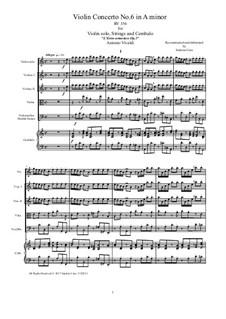Concerto for Violin and Strings No.6 in A Minor, RV 356: Score, parts by Antonio Vivaldi
