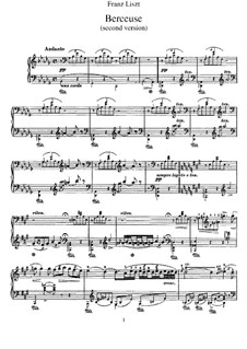 Lullaby, S.174: Second version by Franz Liszt