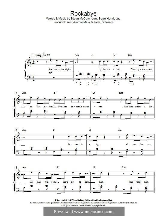Rockabye (Clean Bandit): For piano by Ammar Malik, Ina Wroldsen, Sean Paul Henriques, Steve Mac, Jack Patterson