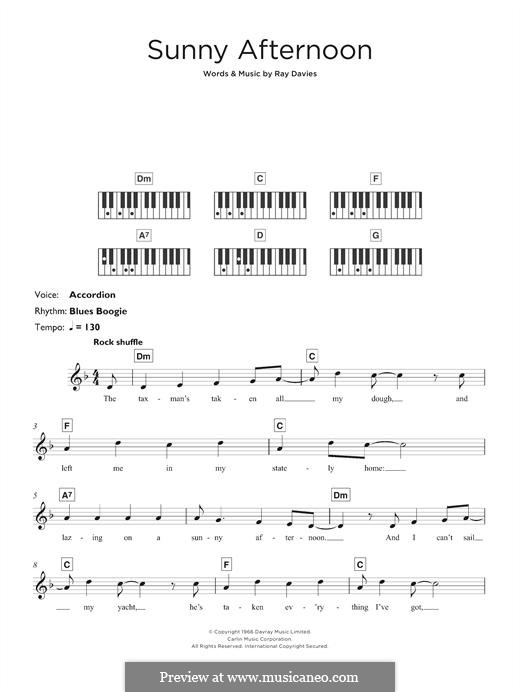 Sunny Afternoon (The Kinks): For keyboard by Ray Davies