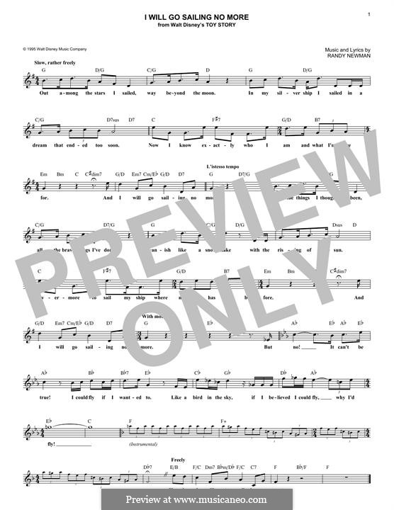 I Will Go Sailing No More: Melody line by Randy Newman