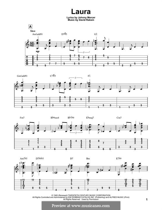 Laura (Frank Sinatra): For guitar with tab by David Raksin