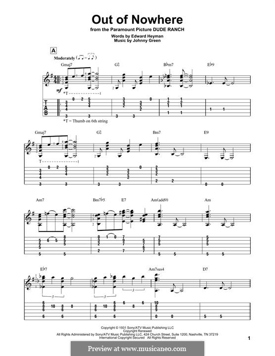 Out of Nowhere: For guitar with tab by John W. Green