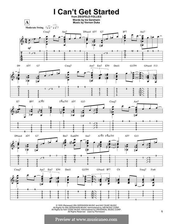 I Can't Get Started with You: For guitar with tab by Vernon Duke