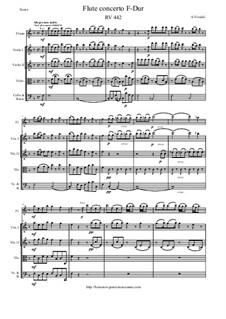 Concerto for Flute and Strings in F Major, RV 442: Score and parts by Antonio Vivaldi