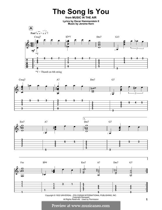 The Song is You: For guitar with tab by Jerome Kern