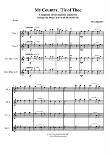 My Country, 'Tis Of Thee (America): For flute quartet by folklore