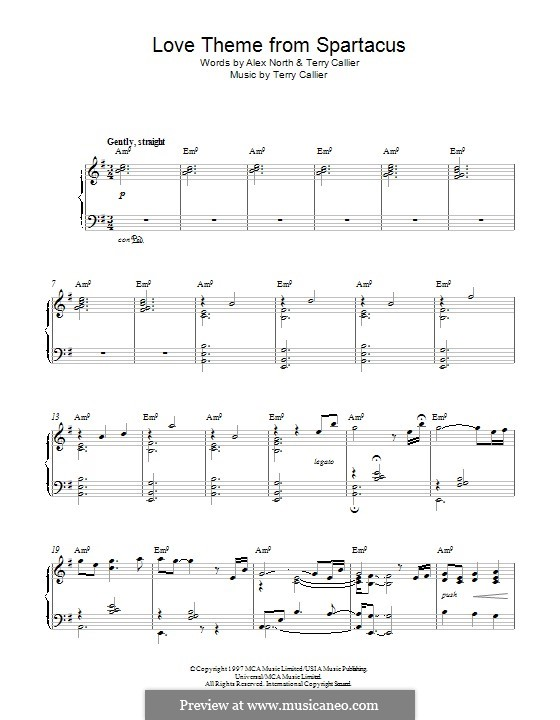 Love Theme from Spartacus: For piano by Terrence Callier
