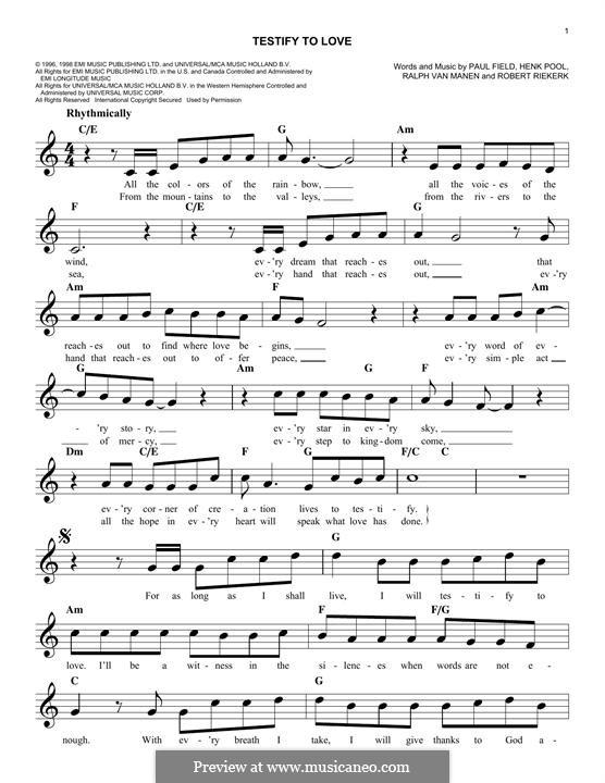 Testify to Love (Avalon): Melody line by Henk Pool, Paul Field, Ralph Van Manen, Robert Riekerk