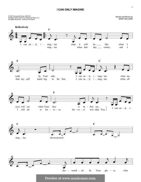 I Can Only Imagine (Mercy Me): Melody line by Bart Millard