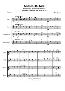 God Save the King: For flute quartet by folklore