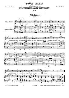 Twelve Songs, Op.9: Complete set by Felix Mendelssohn-Bartholdy