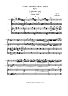 Concerto for Two Violins and Strings No.8 in A Minor, RV 522: Version for two violins and piano by Antonio Vivaldi