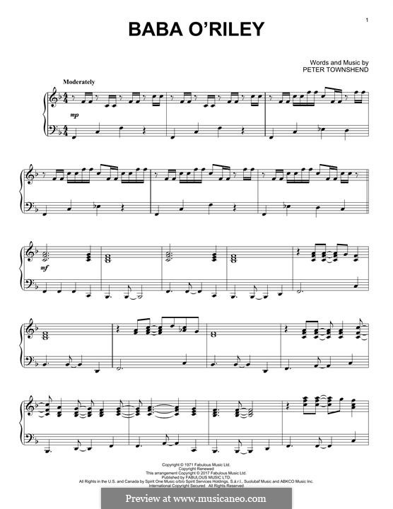 Baba O'Reilly (from Summer of Sam): For piano by Peter Townshend