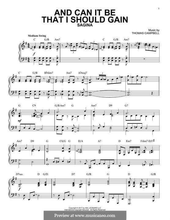 And Can It Be That I Should Gain: For piano by Thomas Campbell