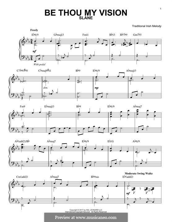 Be Thou My Vision (Printable scores): For piano by folklore