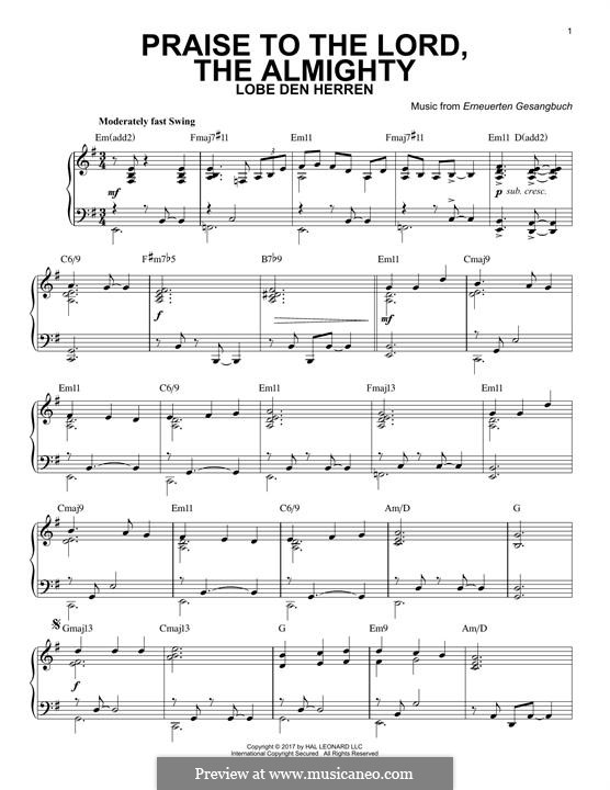 Praise to the Lord, the Almighty: For piano by Unknown (works before 1850)