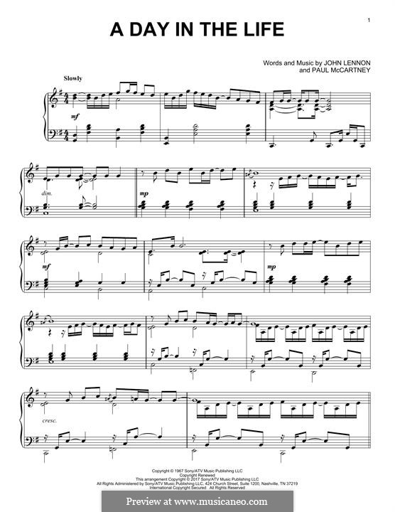 A Day in the Life (The Beatles): For piano by John Lennon, Paul McCartney