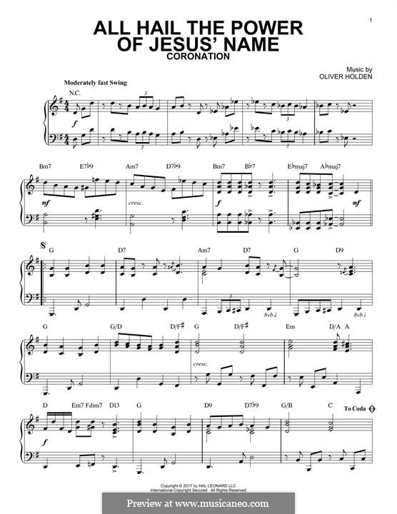 All Hail the Power of Jesus' Name: For piano by Oliver Holden
