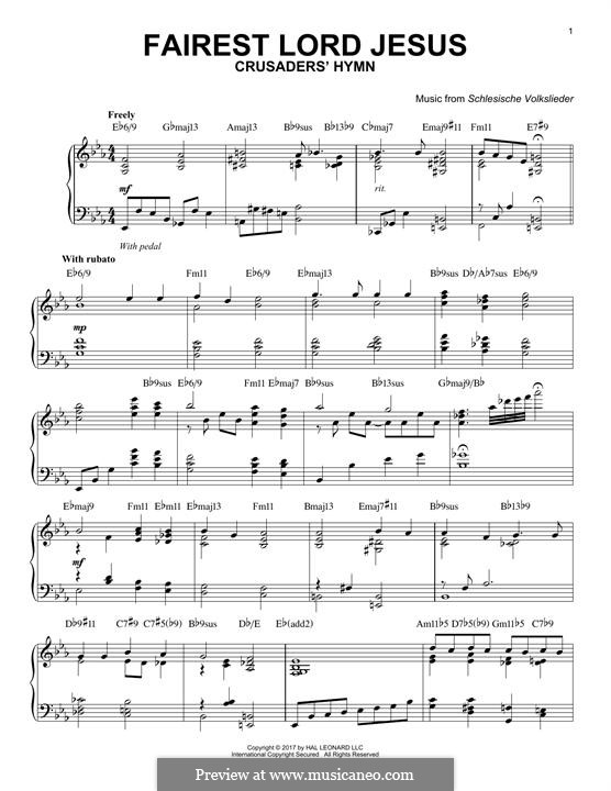 Fairest Lord Jesus: For piano by folklore