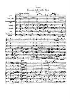 Concerto for Horn and Orchestra No.4 in E Flat Major, K.495: Full score by Wolfgang Amadeus Mozart
