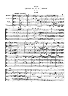 String Quartet No.13 in D Minor, K.173: Full score by Wolfgang Amadeus Mozart
