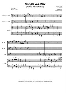 Prince of Denmark's March (Trumpet Voluntary): For brass trio - piano accompaniment by Jeremiah Clarke