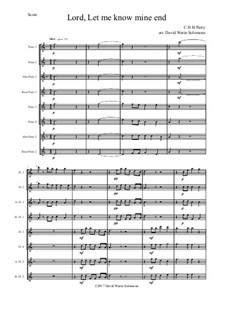 Lord, let me know mine end: For flute octet or flute choir by Charles Hubert Hastings Parry