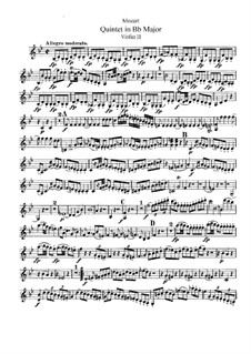 String Quintet No.1 in B Flat Major, K.174: Violin II part by Wolfgang Amadeus Mozart
