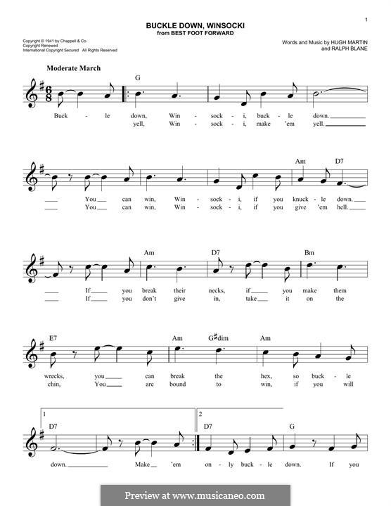 Buckle Down, Winsocki: Melody line by Hugh Martin, Ralph Blane