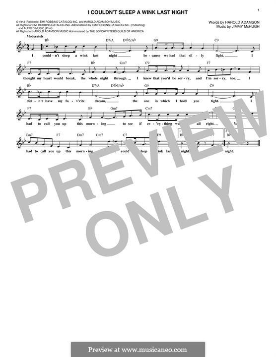 I Couldn't Sleep a Wink Last Night (Frank Sinatra0: Melody line by Jimmy McHugh