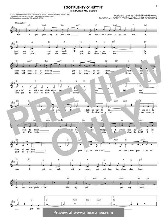 I Got Plenty O' Nuttin': Melody line (Dorothy Heyward) by George Gershwin