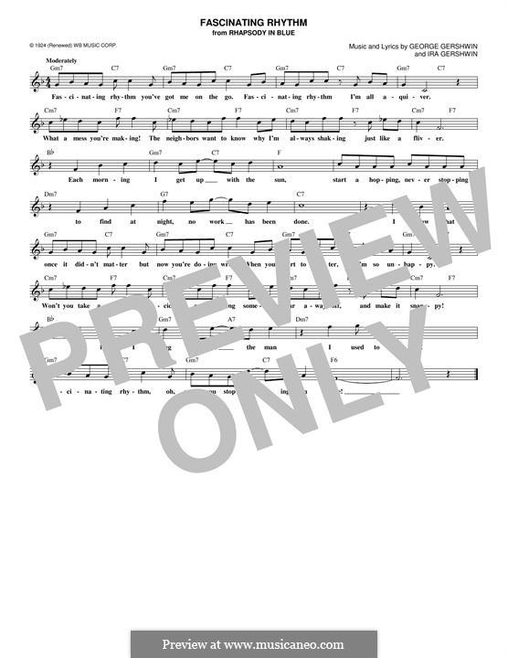 Fascinating Rhythm: Melody line by George Gershwin