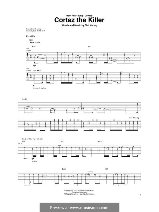 Cortez the Killer: For guitar with tab by Neil Young