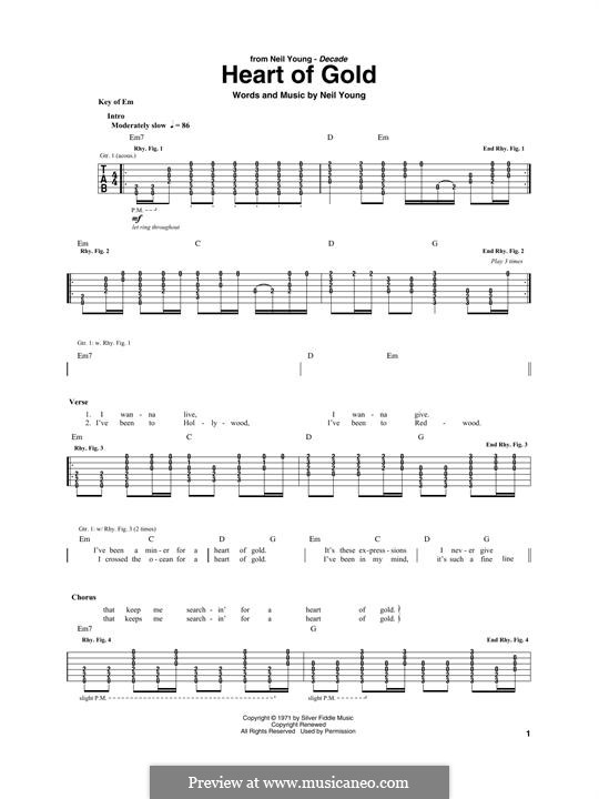 Heart of Gold: For guitar with tab by Neil Young