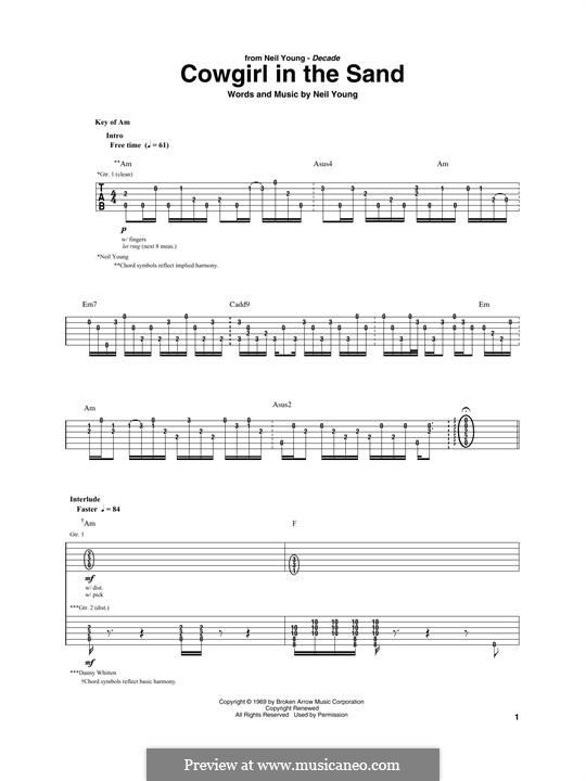 Cowgirl in the Sand: For guitar with tab by Neil Young