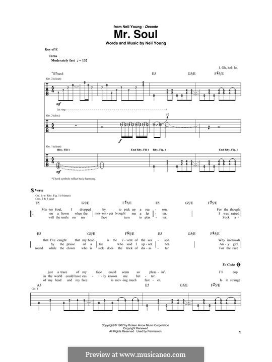 Mr. Soul: For guitar with tab by Neil Young