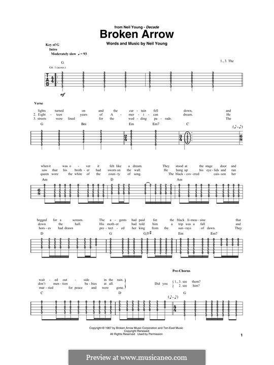 Broken Arrow: For guitar with tab by Neil Young