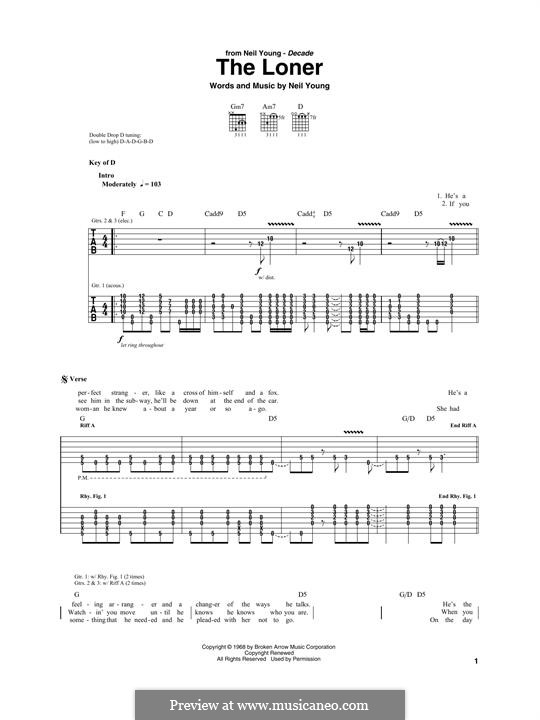 The Loner: For guitar with tab by Neil Young