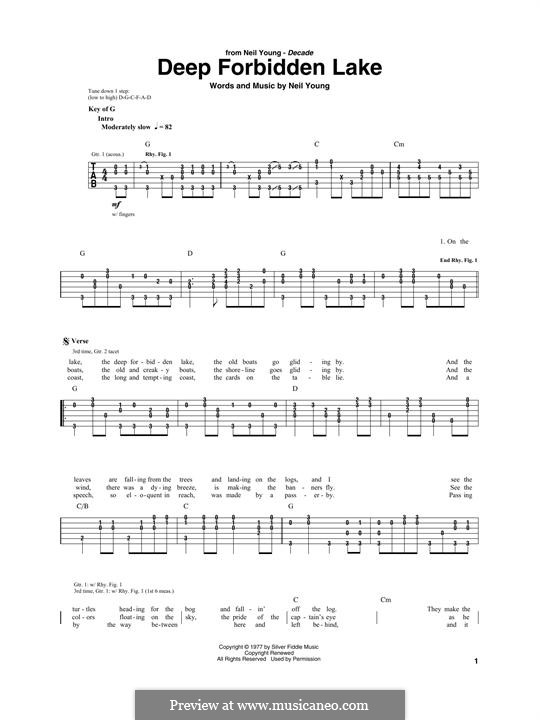 Deep Forbidden Lake: For guitar with tab by Neil Young