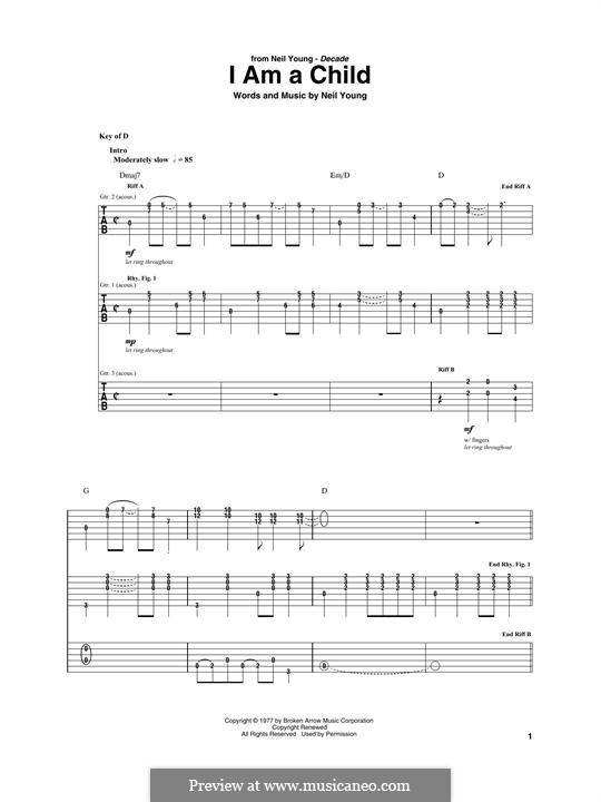 I am a Child: For guitar with tab by Neil Young