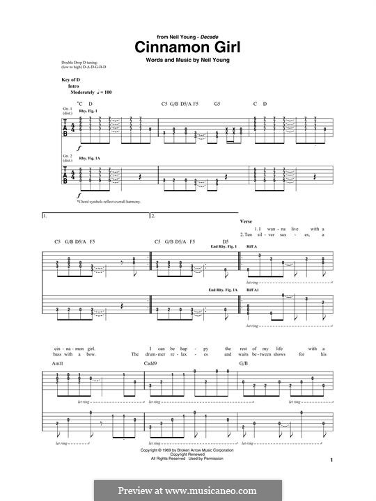 Cinnamon Girl: For guitar with tab by Neil Young