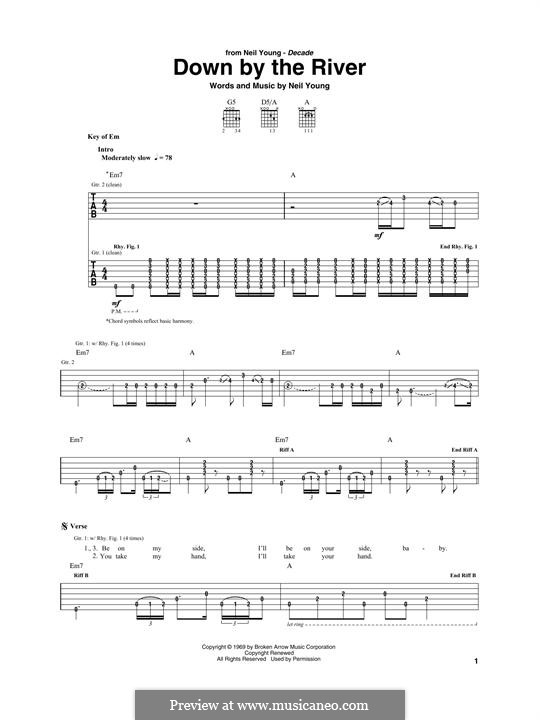 Down By the River: For guitar with tab by Neil Young