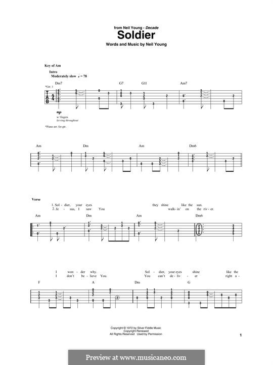 Soldier: For guitar with tab by Neil Young