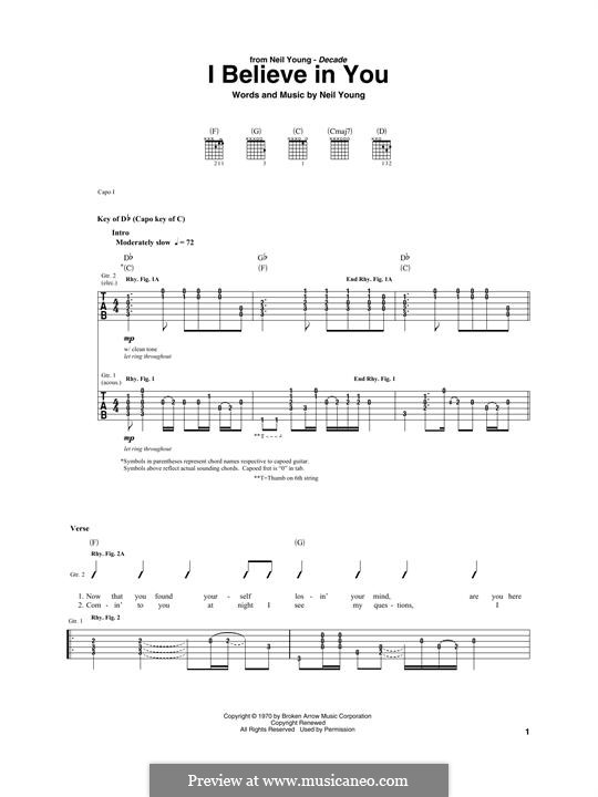 I Believe in You: For guitar with tab by Neil Young