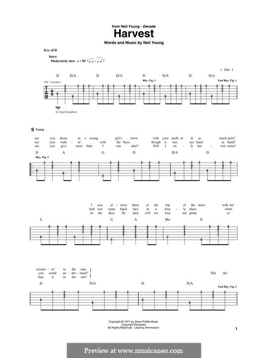 Harvest: For guitar with tab by Neil Young