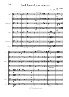Lord, let me know mine end: For wind octet by Charles Hubert Hastings Parry