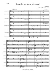 Lord, let me know mine end: For clarinet octet or clarinet choir by Charles Hubert Hastings Parry